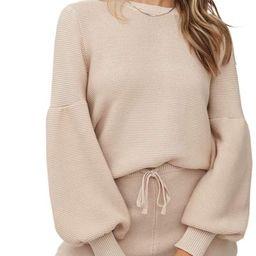 Imesrun Womens Two Piece Sweater Crop Top and Drawstring Shorts Sweatsuit Knit Loungewear Pajamas... | Amazon (US)