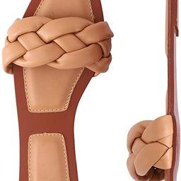 depdream Women's Open Square Toe Flat Sandals Slip On Mule Slipper Casual Shoes | Amazon (US)