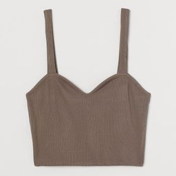 Fitted crop top in a knit LivaEco™ viscose blend. Wide shoulder straps and a sweetheart necklin...   H&M (US)