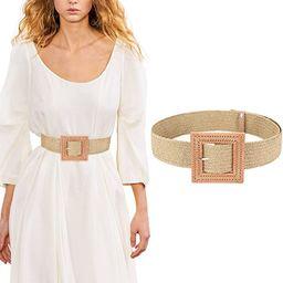 Women's Belts w Elastic Woven Straw | Tropical Wide Woven Stretch Waist Belt | Amazon (US)