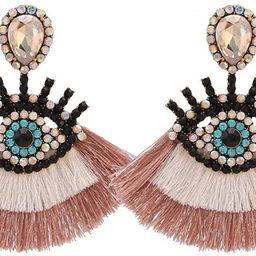 Colorful Evil Eyes Tassel Drop Dangle Earrings Boho Multicolor Geometric Rhinestone Fringe Cotton... | Amazon (US)