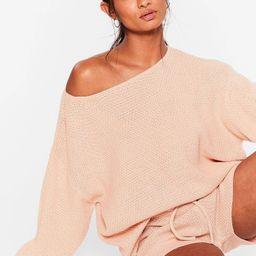 Sleep Knit Off-the-Shoulder Shorts Lounge Set   NastyGal