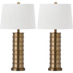 "(Set of 2) 28.5"" Linus Column Table Lamp Gold (Includes CFL Light Bulb) - Safavieh | Target"