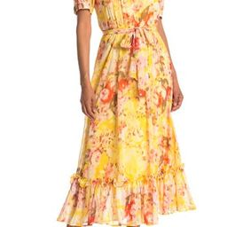 Floral Print Chiffon Button Front Midi Dress | Nordstrom Rack