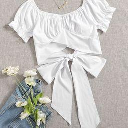 Flounce Sleeve Tie Back Crop Top | SHEIN