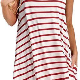 ZESICA Women's Summer Sleeveless Damask Print Pocket Loose T-Shirt Dress | Amazon (US)