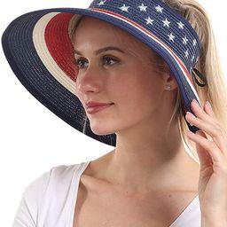 Women Sun Visors Foldable Straw Hats Summer Beach Packable Hat Floppy Wide Brim Cap Deep Style, A... | Amazon (US)