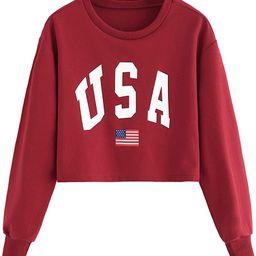 SweatyRocks Women's Crop Top Letter Printed Sweatshirt Hoodie | Amazon (US)