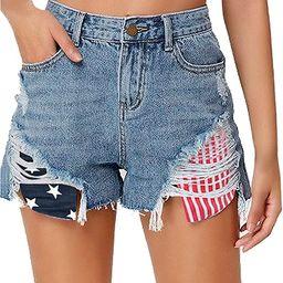 luvamia Women's Mid Rise Ripped Denim Shorts Frayed Raw Hem Casual Jeans Shorts | Amazon (US)