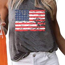 American Flag Tank Tops Women Patriotic Shirt USA Flag Stars Stripes Print Sleeveless T-Shirt 4th... | Amazon (US)