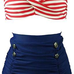COCOSHIP Retro Polka Dot Twisted Front High Waisted Bikini Set Tie Belt Vintage Ruched Swimsuit(F... | Amazon (US)