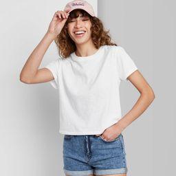 Women's Short Sleeve Shrunken Boxy T-Shirt - Wild Fable White XS   Target