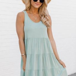 Giving Your All Tiered Sage Tank Dress | The Pink Lily Boutique