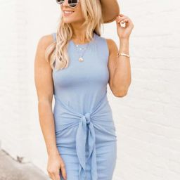 Living For It Bodycon Tank Dress Blue | The Pink Lily Boutique