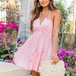 Runaway Ocean Halter Blush Dress | The Pink Lily Boutique