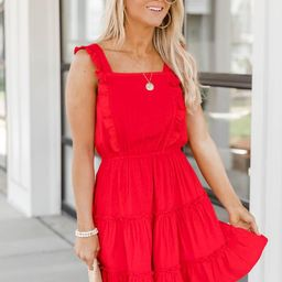 Brave Soul Dotted Ruffle Red Dress | The Pink Lily Boutique
