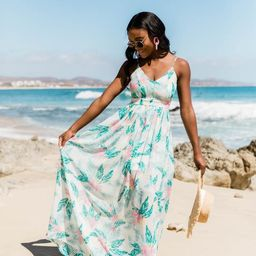 It's Love At First Sight Ivory Floral Maxi Dress | The Pink Lily Boutique