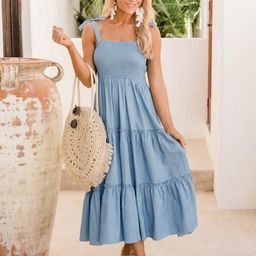 Back Of Your Mind Chambray Smocked Midi Dress | The Pink Lily Boutique