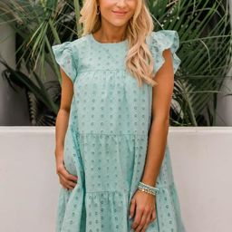 Mindless Dreaming Mint Eyelet Dress | The Pink Lily Boutique