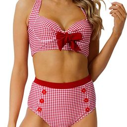 Peddney Women Halter High Waisted Bikini Swimsuit Push Up Bathing Suit Retro Tie Front Two Piece ... | Amazon (US)