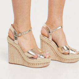 River Island strappy heeled wedge sandals in gold | ASOS (Global)