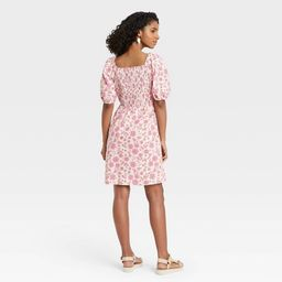 Women's Floral Print Puff Elbow Sleeve Smocked Dress - Universal Thread™ Cream   Target