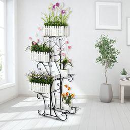 5 Tier Outdoor Indoor Metal Plant Stand Plant Display Shelf Garden Lounge Patio Decor | Walmart (US)