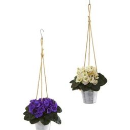 Nearly Natural 21in. African Violet Artificial Plant in Hanging Bucket Set of 2 | Macys (US)