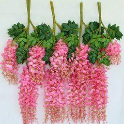 Artificial Silk Wisteria Hanging Plants for Wedding Party Home Garden Decor Decorative Hanging Flowe | Walmart (US)