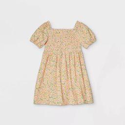 Girls' Smocked Woven Puff Sleeve Dress - Cat & Jack™ Yellow   Target