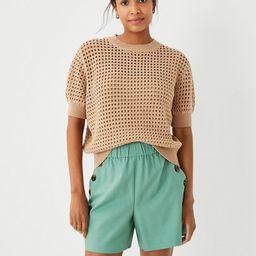 Crocheted Short Sleeve Sweater | Ann Taylor (US)