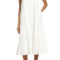 Ruffle Strap Embroidered Cotton Dress | Nordstrom