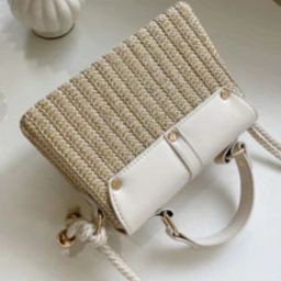 Buckle Decor Straw Satchel Bag | SHEIN