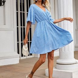 Confetti Heart Print Butterfly Sleeve Dress   SHEIN
