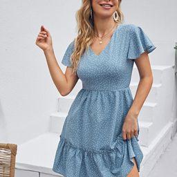 Polka Dot Ruffle Hem Dress   SHEIN