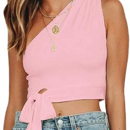 WEEPINLEE Women's Sexy One Shoulder Sleeveless Bowknot Shirts Crop Tops | Amazon (US)