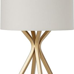 Amazon Brand – Rivet Gold Bedside Table Desk Lamp with Light Bulb - 18 Inches, Linen Shade | Amazon (US)