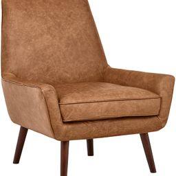 "Amazon Brand – Rivet Jamie Leather Mid-Century Modern Low Arm Accent Chair, 31""W, Cognac | Amazon (US)"