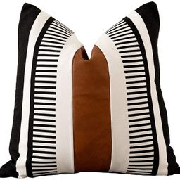 Vfuty Farmhouse Throw Pillow Covers for Couch Sofa Decorative Faux Leather Square Cushion Cover T... | Amazon (US)