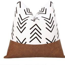 cygnus Boho Decorative Throw Pillow Covers Faux Leather Stitching White Cotton Canvas Black Arrow... | Amazon (US)