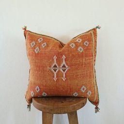 Orange Moroccan Sabra Pillow Handmade Home Decor Cactus Silk | Etsy | Etsy (US)