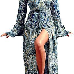 R.Vivimos Womens Summer Long Sleeve Cardigan Sexy Maxi Dresses | Amazon (US)