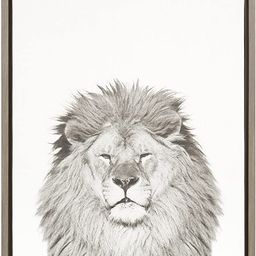 Kate and Laurel - Sylvie Lion Animal Print Black and White Portrait Framed Canvas Wall Art by Sim... | Amazon (US)