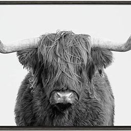 Kate and Laurel Sylvie Highland Cow Framed Canvas Wall Art by Amy Peterson, 23x33 Gray, Rustic Wa... | Amazon (US)