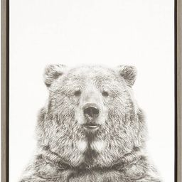 Kate and Laurel Sylvie Bear Animal Print Black and White Portrait Framed Canvas Wall Art by Simon... | Amazon (US)