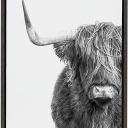 Kate and Laurel Sylvie Highland Cow Black and White Portrait Framed Canvas by Amy Peterson, 18x24... | Amazon (US)