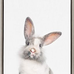 Kate and Laurel Sylvie Young Rabbit Framed Canvas by Amy Peterson, 18x24, Gray | Amazon (US)