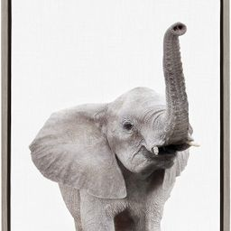 Kate and Laurel Sylvie Elephant with Raised Trunk Animal Print Portrait Framed Canvas Wall Art by... | Amazon (US)
