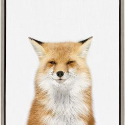 Kate and Laurel Sylvie Young Fox Framed Canvas Wall Art by Amy Peterson, 18x24, Gray | Amazon (US)