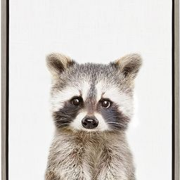 Kate and Laurel Sylvie Raccoon Framed Canvas Wall Art by Amy Peterson, 18x24, Gray | Amazon (US)